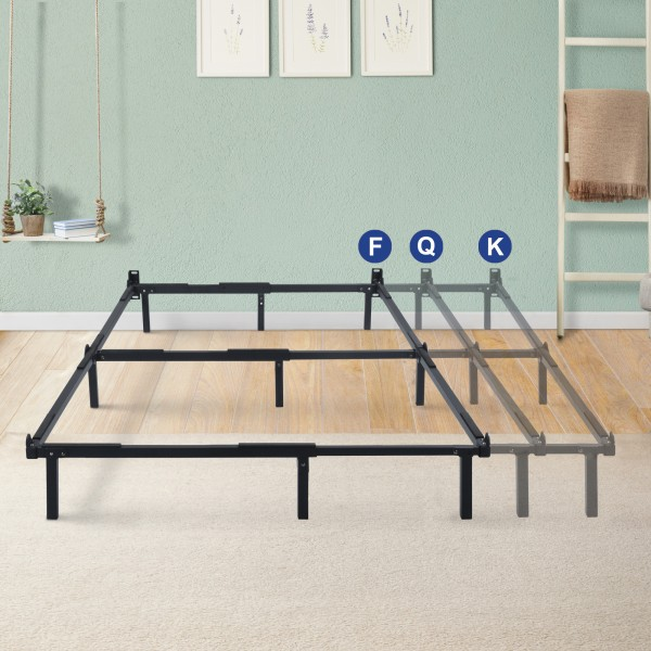 Olee Sleep 7.5 Inch Dura Metal Compact Adjustable Steel Bed Frame, Fits Full to King